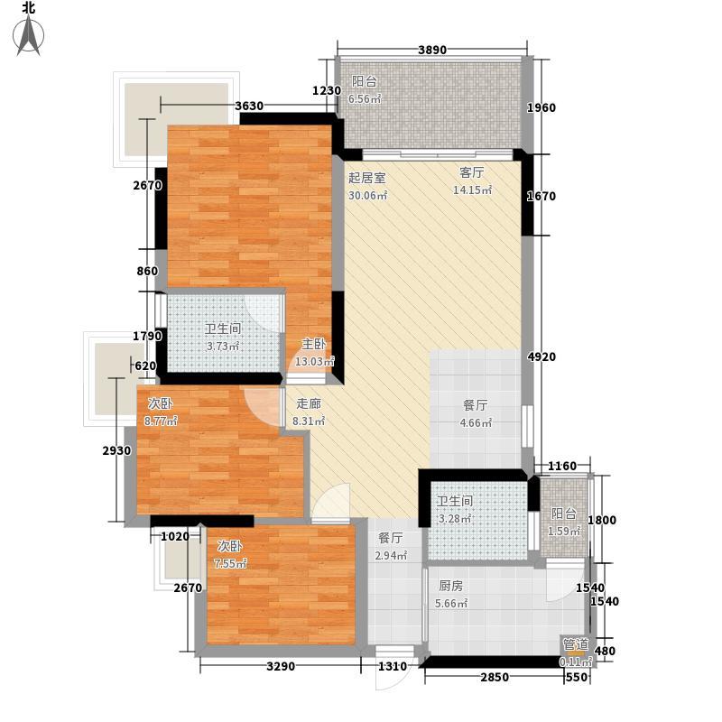 泓景花园109.65㎡B4栋4层4单位3面积10965m户型