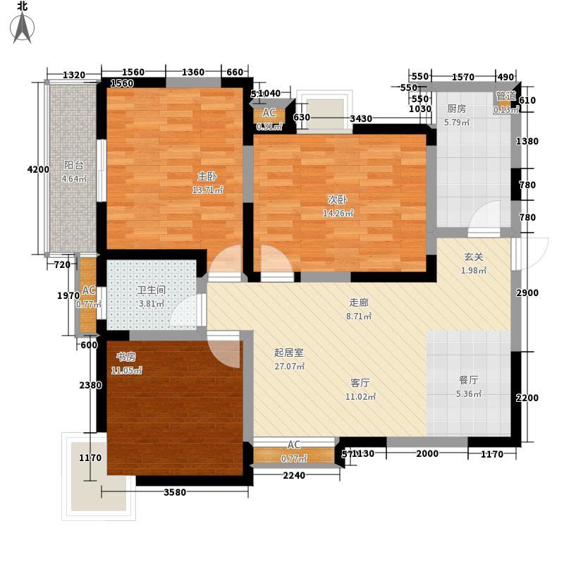 蔚蓝领寓112.90㎡2号楼F面积11290m户型