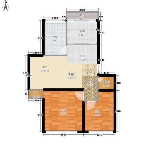 鸿旺阳光小区2室1厅1卫1厨91.00㎡户型图