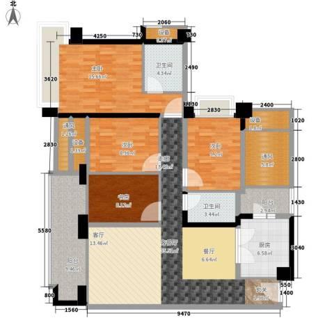 雅居乐・铂爵山4室1厅2卫1厨142.00㎡户型图