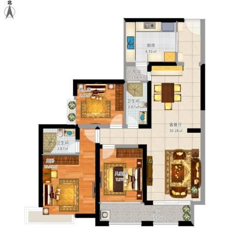 新世纪颐龙湾3室1厅2卫1厨111.00㎡户型图
