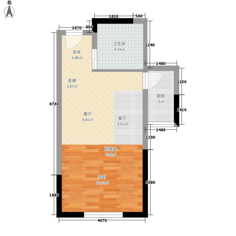 星海湾畔45.02㎡明媚空间户型1室1厅1卫