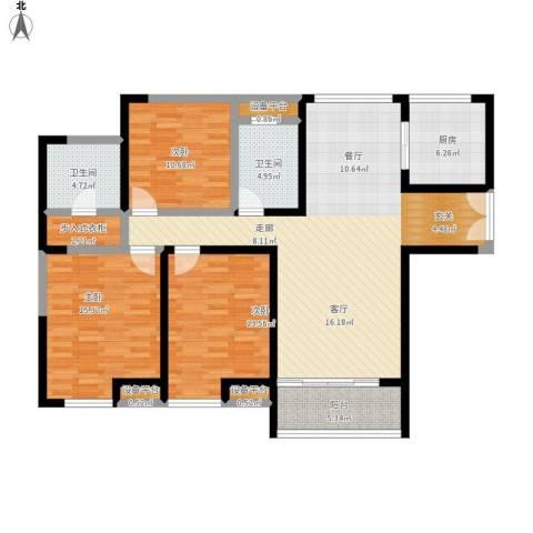 金海名园3室1厅2卫1厨152.00㎡户型图