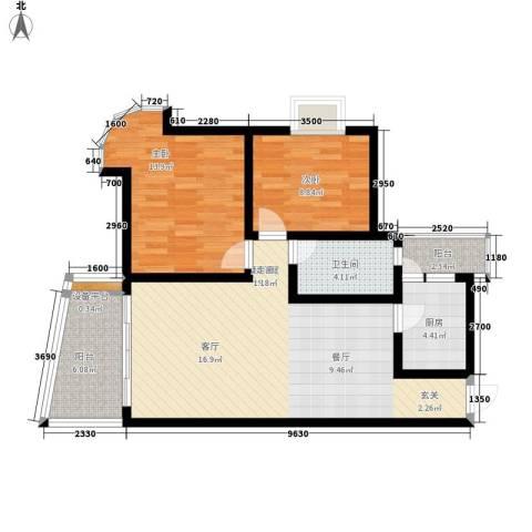 回龙湾小区2室0厅1卫1厨81.00㎡户型图