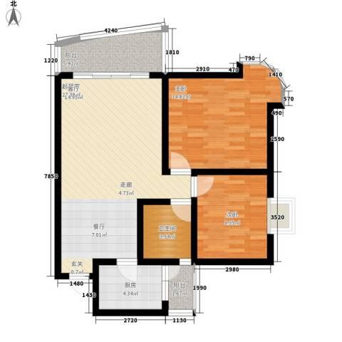 回龙湾小区2室0厅1卫1厨77.00㎡户型图