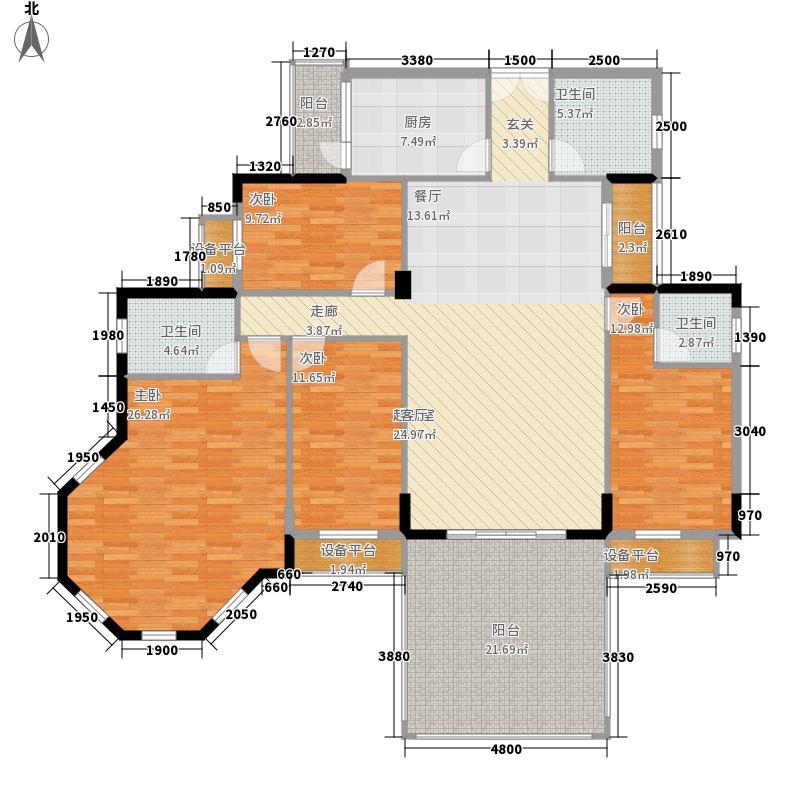 长沙玫瑰园158.00㎡39#楼02面积15800m户型