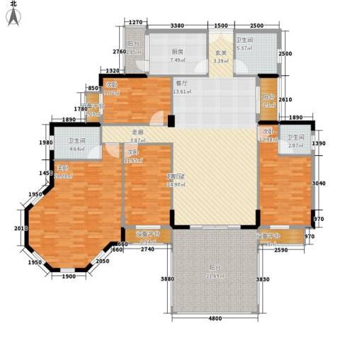长沙玫瑰园4室0厅3卫1厨158.59㎡户型图