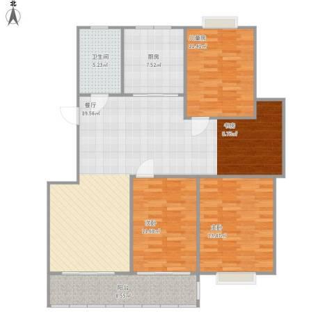 南通星光耀广场3室1厅1卫1厨134.00㎡户型图