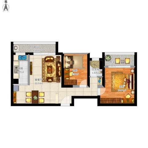 新世纪颐龙湾2室1厅1卫1厨78.00㎡户型图