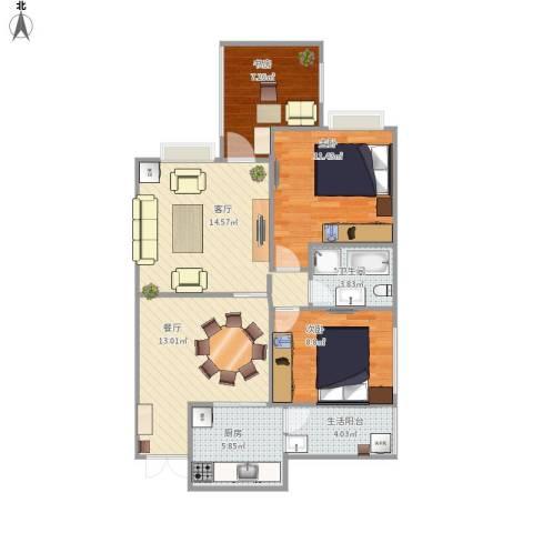 旌城一品3室2厅1卫1厨94.00㎡户型图