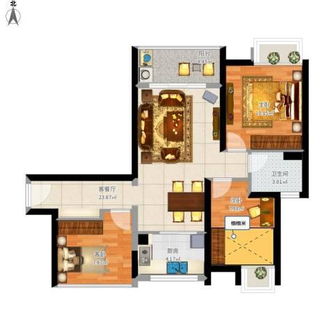 新世纪颐龙湾3室1厅1卫1厨89.00㎡户型图