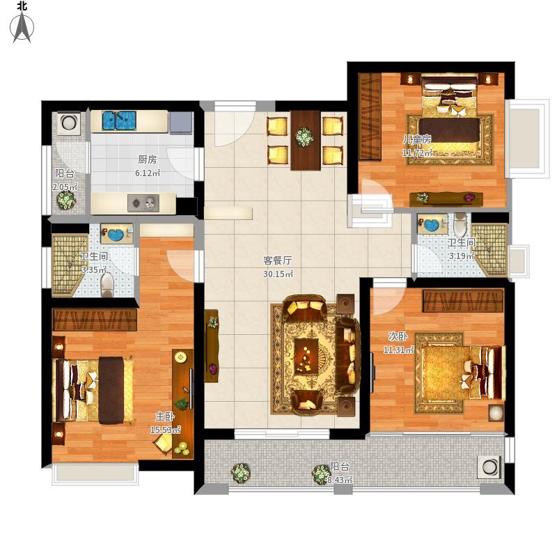 205栋1单元2-15层、2单元2-19层、208栋2-25层01户型96㎡三房两厅