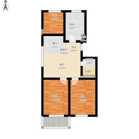 北京悦3室1厅1卫1厨88.00㎡户型图