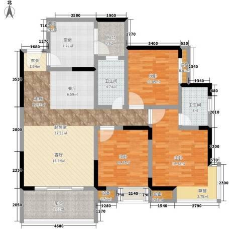 城市印象3室0厅2卫1厨107.60㎡户型图