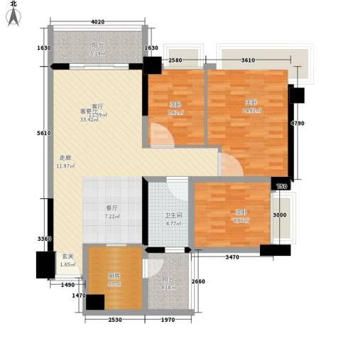 雅居乐・铂爵山3室1厅1卫1厨98.00㎡户型图