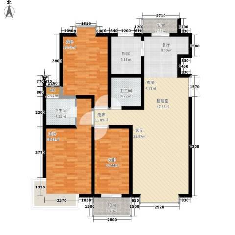 天江格调花园3室0厅2卫1厨154.00㎡户型图