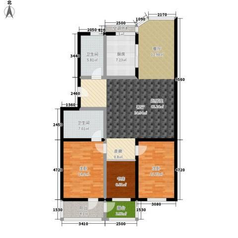 仁泰旅游度假花园3室0厅2卫1厨122.00㎡户型图
