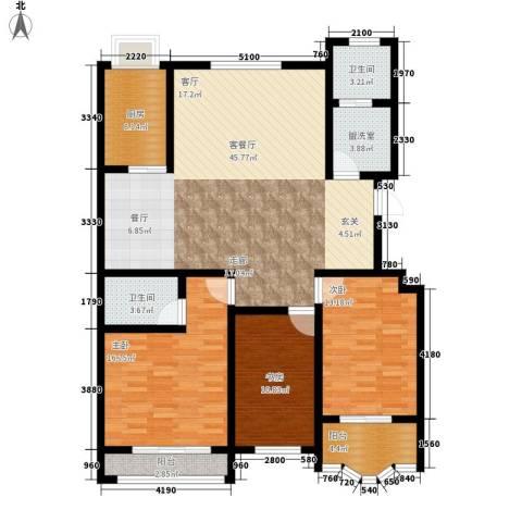 九龙明珠3室1厅2卫1厨127.00㎡户型图