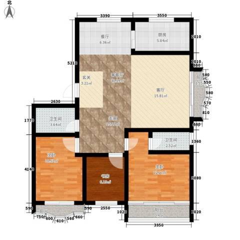 九龙明珠3室1厅2卫1厨101.00㎡户型图