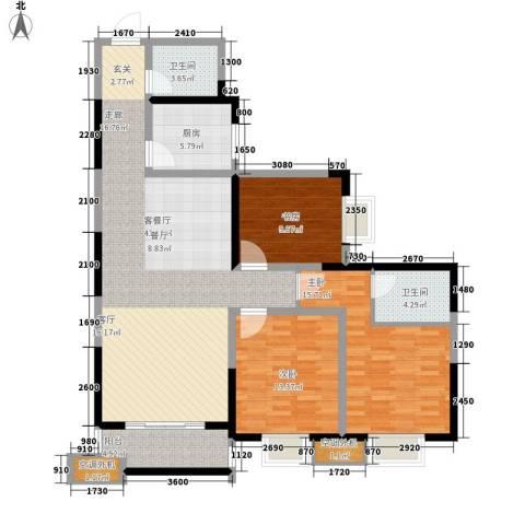 圣都大厦3室1厅2卫1厨118.12㎡户型图