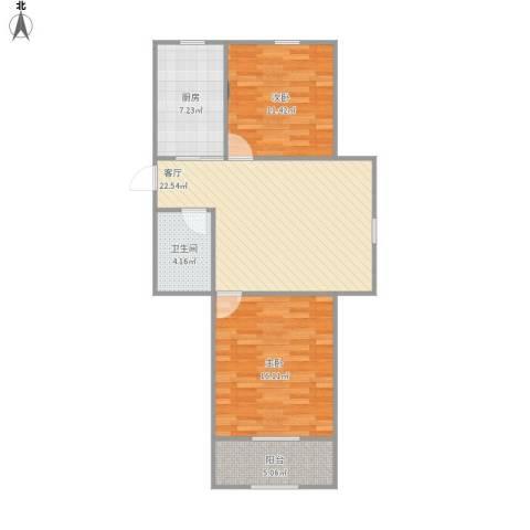 华夏山海城2室1厅1卫1厨89.00㎡户型图