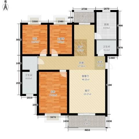 西航花园3室1厅2卫1厨142.00㎡户型图