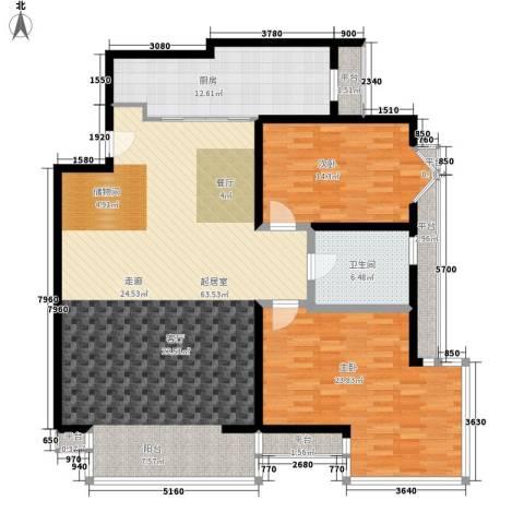 仁泰旅游度假花园2室0厅1卫1厨133.00㎡户型图