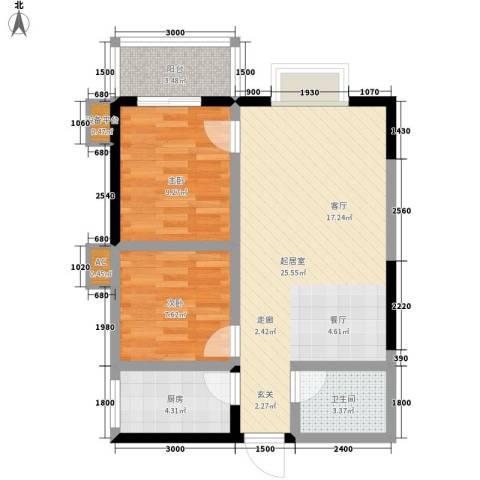 枫叶高层2室0厅1卫1厨75.00㎡户型图
