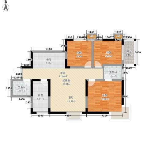 枫叶高层3室0厅2卫1厨120.00㎡户型图