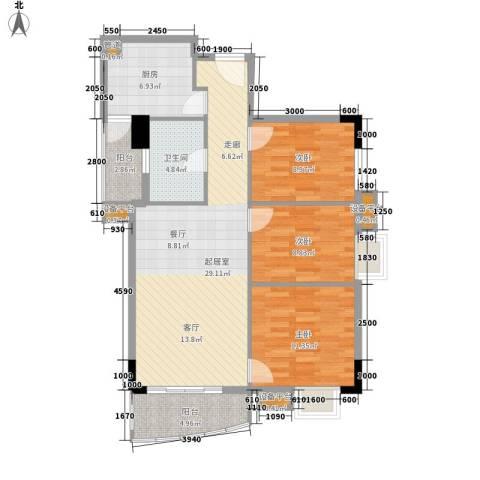星汇晴轩3室0厅1卫1厨90.00㎡户型图