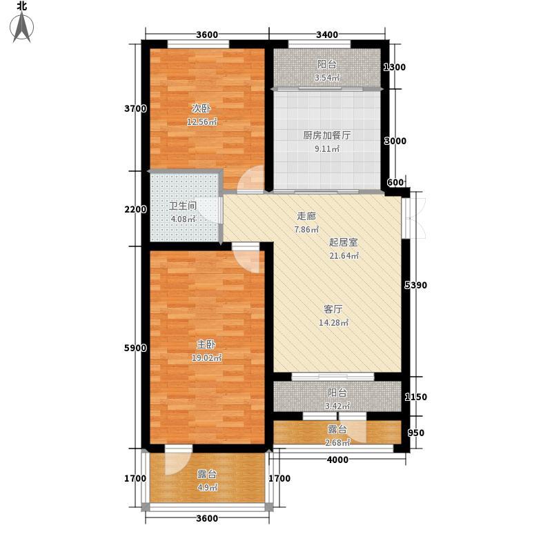 盟科涵舍105.46㎡1号楼一单元B两室户型2室2厅