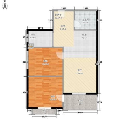 大唐盛苑2室0厅1卫1厨81.00㎡户型图