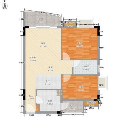 星汇晴轩2室0厅1卫1厨80.00㎡户型图