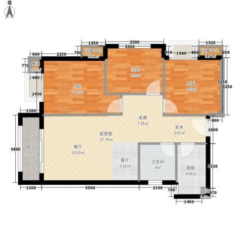 汉城壹号3室0厅1卫1厨99.00㎡户型图