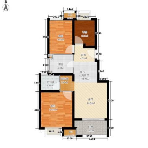 太湖相王府3室1厅1卫1厨85.00㎡户型图