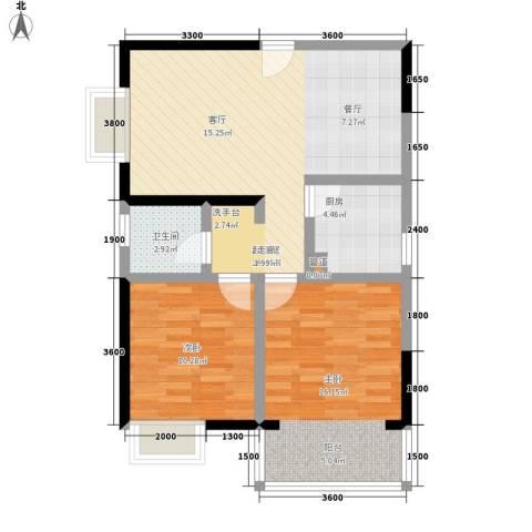南湖公寓2室0厅1卫1厨78.00㎡户型图