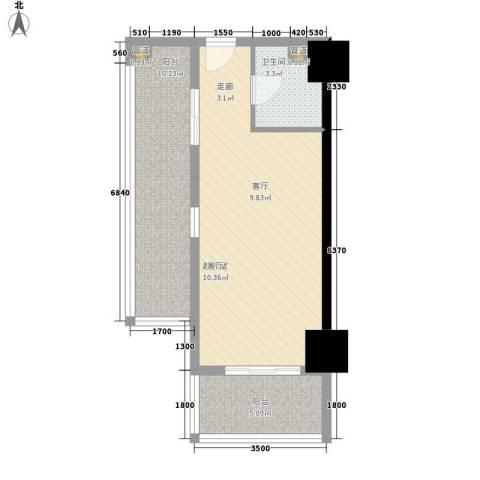 南湖公寓1卫0厨62.00㎡户型图