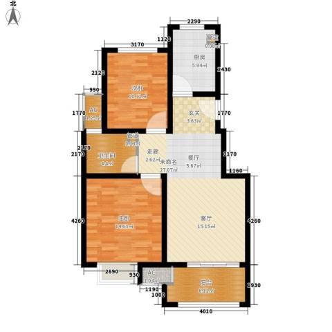 太湖相王府2室0厅1卫1厨80.00㎡户型图