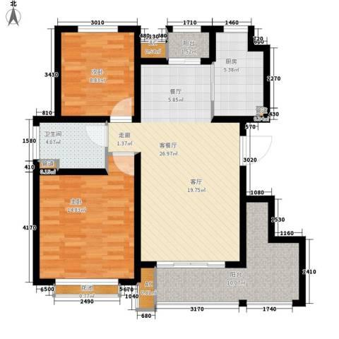 太湖相王府2室1厅1卫1厨86.00㎡户型图