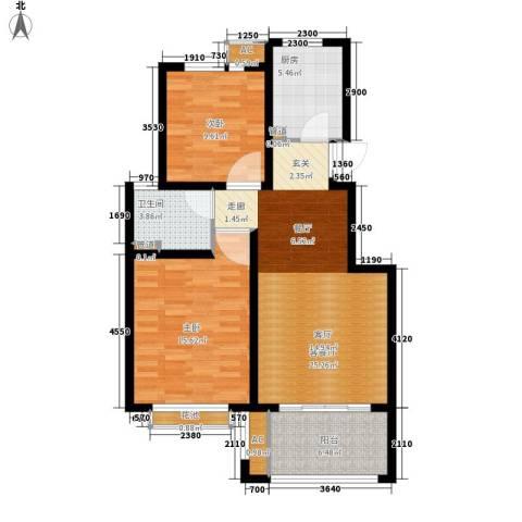 太湖相王府2室1厅1卫1厨80.00㎡户型图