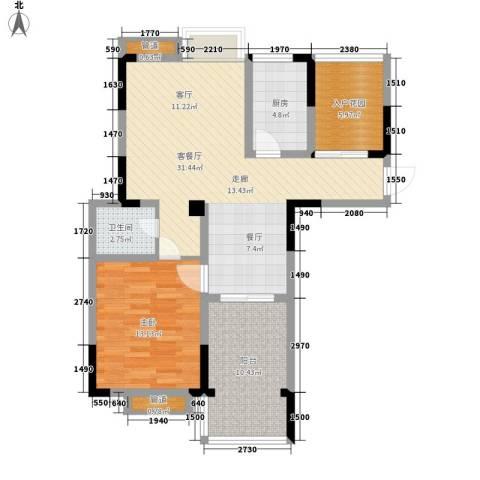 紫园1室1厅1卫1厨86.00㎡户型图
