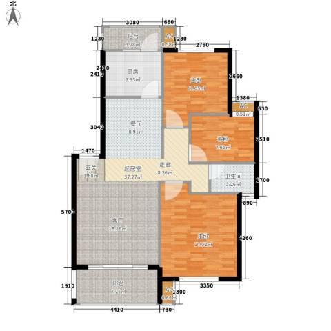 龙湖水晶郦城四组团3室0厅1卫1厨125.00㎡户型图