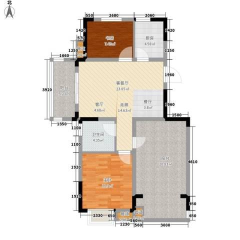 紫园2室1厅1卫1厨88.00㎡户型图
