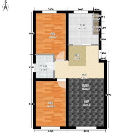 半山居2室0厅1卫1厨83.00㎡户型图
