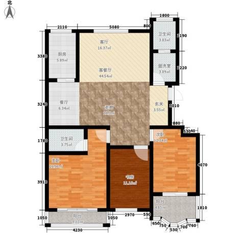 九龙明珠3室1厅2卫1厨125.00㎡户型图