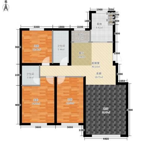 半山居3室0厅2卫1厨138.00㎡户型图