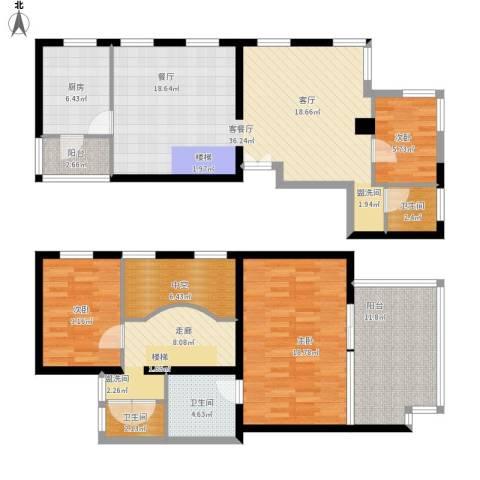 万科彩园3室1厅3卫1厨164.00㎡户型图