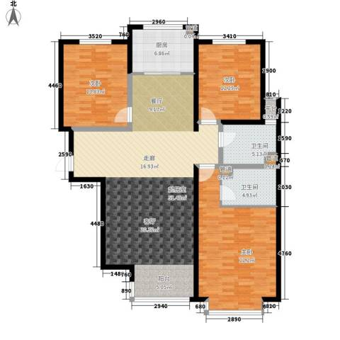 荣盛锦绣花苑3室0厅2卫1厨131.00㎡户型图