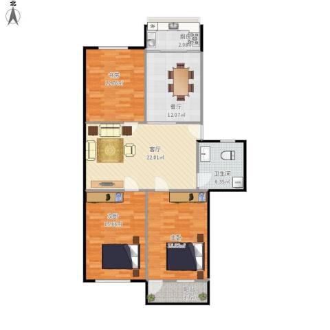青后小区3室2厅1卫1厨123.00㎡户型图