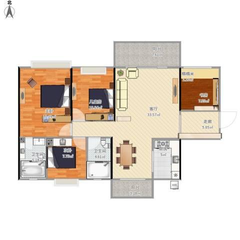 中源明珠4室1厅2卫1厨145.00㎡户型图